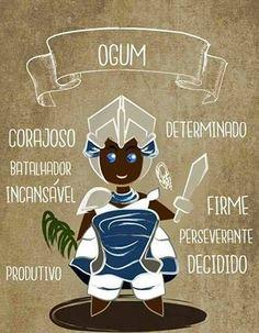 Qualities of the Omo Ogun (sons and daughters of Ogun/Ogum). By Orádia N.C Porciúncula, Brazil. Orisha, African Goddess, Holy Mary, Sacred Art, African Art, Pagan, Wicca, Mythology, Mystic