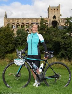 The Countess of Wessex slipped into her lycra as she set off on a 450-mile palace-to-palace cycling challenge from Edinburgh to London Monday, Sept.19/16. Here she is pictured stopping at Jedburgh Abbey.