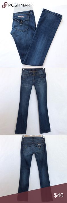 """Hudson Bootcut Jeans Still in good condition. Lay Flat Measurement- Inseam-33"""". Length-40"""". Waist to Crotch-6.5"""". Waist-13.5"""". 98% Cotton. 2% Elastane. Stretchy Fabric. No Trades. Make a reasonable offer. No Low ball offers Hudson Jeans Jeans Boot Cut"""