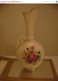 ON SALE Vintage Lenox Floral Bud Vase With Handle  by dtriece, $13.30