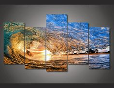 Style Your Home Today With This Amazing 5 Pieces Multi Panel Modern Home Decor Framed Sunset Ocean Wave Wall Canvas Art For $99.98 Discover more canvas selection here http://www.octotreasures.com If you want to create a customized canvas by printing your own pictures or photos, please contact us.