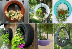 diy hanging tyre planter #diy #gardening #recycling