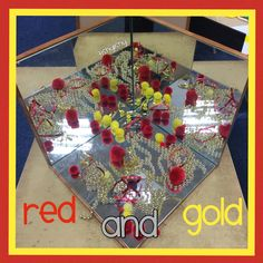Red and gold invitation on the mirror box. New Year's Crafts, Arts And Crafts, Investigation Area, Early Years Classroom, Chinese New Year Crafts, Mirror Box, Gold Invitations, Classroom Displays, Light In The Dark