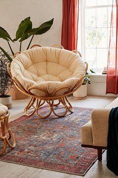 Flora Rattan Papasan Chair Love this! Room Ideas Bedroom, Bedroom Decor, Bedroom Chair, Cozy Chair, Comfy Reading Chair, Papasan Chair, Papasan Cushion, Swivel Chair, Chair Cushions