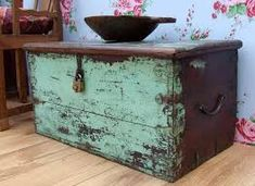 Chests and trunks are unique storage furniture pieces that add wonderful accents to room decor. These items, used to be Painted Trunk, Hand Painted Furniture, Distressed Furniture, Paint Furniture, Furniture Makeover, Painted Chest, Primitive Furniture, Upcycled Furniture, Rustic Furniture