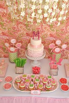 Pink and Green Paisley Koren Dohl First Birthday Party
