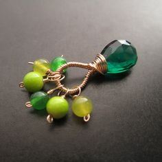 Deluxe Emerald, Lime, Celadon and Kelly Green Interchangeable wire wrapped pendant by UniqueKreations, $17.00