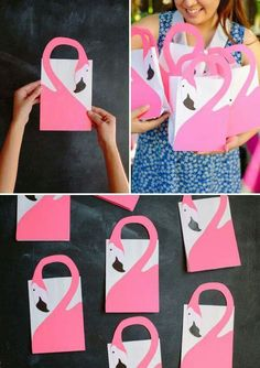 Make your own favor bags for a flamingo party. A fun flamingo craft that will be be useful too for a flamingo birthday party. Pink Flamingo Party, Flamingo Baby Shower, Flamingo Gifts, Flamingo Birthday, Flamingo Craft, Flamingo Pool, Pochette Surprise, Tropical Party, Party Favor Bags