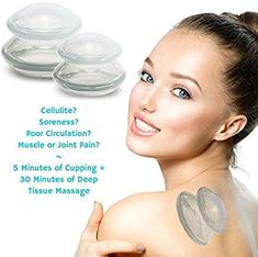 Cupping Massage & Relaxation Set - The Most Recommended Complete Chinese Therapy Cups for Pain Relief & Cellulite Treatment - Best Gift and Quality in Class - Professional Grade - 2 Cups, Clear Strawberry Detox Water, Cupping Massage, Cupping Therapy, Grade 2, Pain Relief, Best Gifts, Cups, Chinese