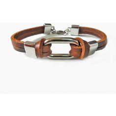 Bangle leather bracelet buckle bracelet men bracelet women bracelet made of alloy and brown leather wrist bracelet SH-1696 (245 RUB) found on Polyvore