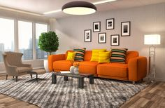 The bright sofa and throw pillows seem so emphasized and highlighted that you might think this was edited in Photoshop. However, nothing has been altered here! It is just the pure power of design and color choice. The designer has done a great job of choosing an orange sofa set along with accented throw pillows and orange tulip blossoms as the centerpiece.