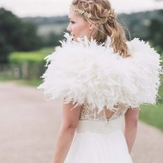 A luxurious mixed real feather wrap adds warmth and glamour to any outfit. Wedding Dresses For Girls, Bridal Dresses, Girls Dresses, Flower Girl Dresses, Wedding Shrug, Bridal Bolero, Coque Feathers, Ostrich Feathers, Wedding Dress With Feathers