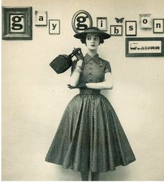 Gay Gibson dress, 1952      What kind of crinoline is she wearing? It is the perfect shape.