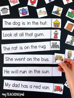 CVC activity to help develop comprehension skills. Students read the CVC sentence and then find the matching picture. Kindergarten Centers, Kindergarten Reading, Teaching Reading, Phonics Reading, Teaching Skills, Kindergarten Worksheets, Kindergarten Classroom, School Classroom, Classroom Ideas
