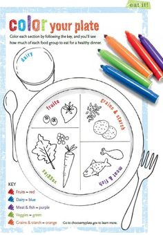"A great ""color your plate"" activity for kids. Pinning here not for my residents but to use with our visiting scout troops during our nutrition activity."