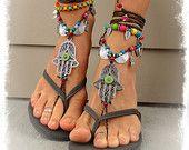 Green Eye HAMSA hand BAREFOOT sandals tribal belly Dance foot jewelry Wrap sandal Ethnic Wedding Hippie Boho Toe Thong bare feet GPyoga
