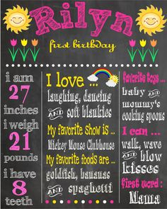 You Are My Sunshine Printable First Birthday Chalkboard Poster