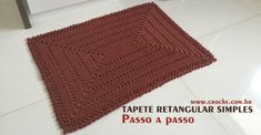 Crochet brown rug ♥️LCR-MRS♥️ with step by step picture instructions --- Tapete retangular simples passo a passo Crochet Shoes Pattern, Crochet Rug Patterns, Crochet Mandala, Crochet Slippers, Crochet Baby Clothes, Crochet Baby Hats, Crochet Headband Free, Crochet Granny Square Afghan, Crochet Pillow