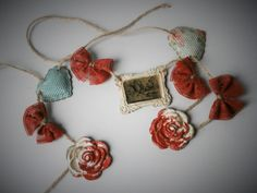 Alice in Wonderland Bunting Air Dry Clay Decoupaged by epimade