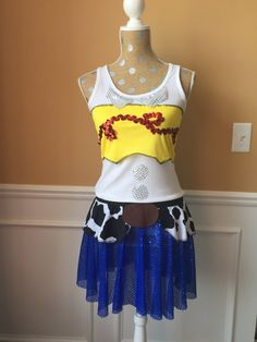 Cow Girl inspired cowboy/cowgirl running costume/outfit/tank top ONLY cow print Tank Top Outfits, Dress Outfits, Dresses, Bleach Cosplay, Easy Stretches, Running Costumes, Disney Cosplay, Cowboy And Cowgirl, Cow Print