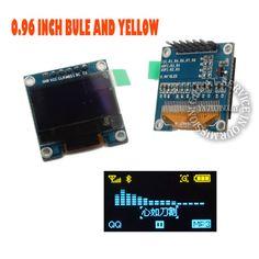 0.96 I2C IIC SPI Série 128X64 Bleu et Jaune OLED LCD LED Module D'affichage pour
