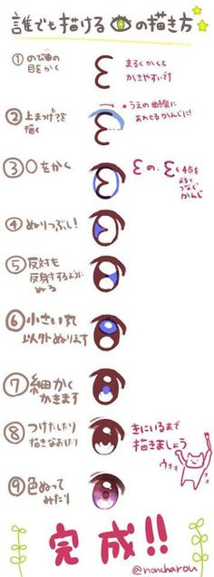 9 step for drawing chara anime eyes.