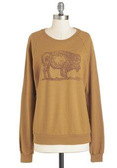 Buffalo and Behold Sweatshirt - WPI, Mid-length, Cotton, Tan, Print with Animals, Casual, Rustic, Sweatshirt, Long Sleeve, Scoop