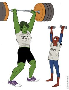 "[Image: Jennifer Walters and Peter Parker doing weightlifting together; Jen, as She-Hulk is lifting a heavy barbell, and Peter is holding two smaller barbells in either hand. Jen's shirt says ""best"" and Peter's says ""bros.""] hannahblumenreich: ""..."