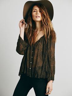 Free People FP ONE Bandana Print Swing Buttondown at Free People Clothing Boutique
