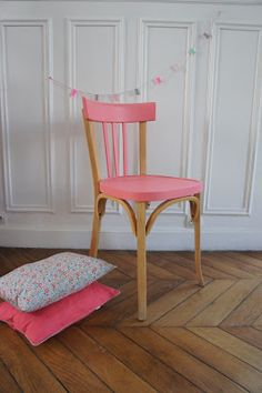 furniture, Cute Pink Accent On Simpel Wood Chair And Small Pillow On Wide Brown Parquet Beside Great Pure White Wall For Painted Furniture Ideas - Painted Furniture Ideas for DIY Furniture Painting Refurbished Furniture, Upcycled Furniture, Vintage Furniture, Home Furniture, Furniture Design, Furniture Ideas, Colorful Chairs, Colorful Furniture, Kids Painted Furniture