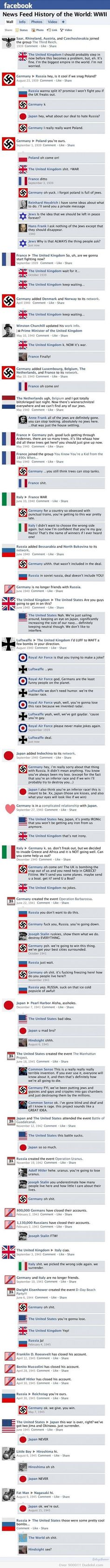 If I were a high school history teacher this is how I would introduce EVERYTHING: World War 2 Facebook Newsfeed