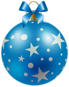 Christmas Blue Ball with Stars PNG Clipart Image