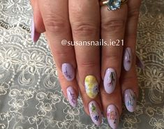 Lilac and yellow gel nais + one stroke flower