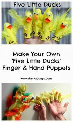 Hand and finger puppets made made from rubber gloves, to along with the nursery rhyme Five Little Ducks (or Two Little Dicky Birds) for toddler and preschooler imaginative play. Sing along and role play! ~ Danya Banya