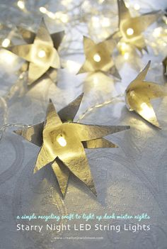 String Light Egg Carton Stars: Use your egg cartons as is for a natural look, or paint or decorate them, you decide! And the great thing about these lights is that while of course you can use them for chanukah, they'll look great any time of year.