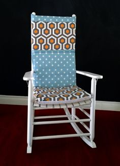 Rocking Chair Cushion Cover   Magna Cinnamon, Blue Polka Dot Multi Print,  Ready To Ship
