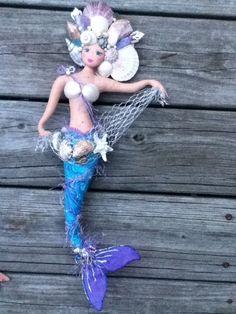 soft sculpture handpainted OOAK mermaid art doll by whimsieart, $48.50