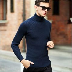 Buy High Quality Winter Sweater Men Knitwear Pullover Slim Turtleneck Clothing Sweaters Solid Thick Male Sweater Pull Top Quality Turtleneck Pullover For Men Male Sweaters, Winter Sweaters, Men Sweater, Sweater Fashion, Sweater Outfits, Men's Fashion, Men's Outfits, Fashion Outfits, Hipster Fashion