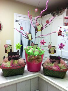 Pink Owls / Girl baby Showers