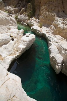 Clear waters in Wadi Bani Khalid oasis, Oman