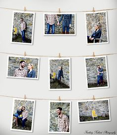 Hanging photos with clothespins