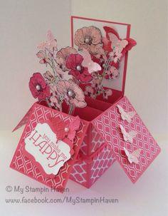 Happy Watercolour, Quatrefancy Specialty, Bitty Butterfly Punch, Elegant Butterfly Punch, Fancy Fan Embossing Folder, Decorative Label Punch thank you card in a box