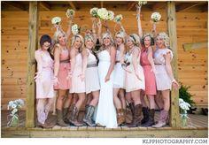southern, vintage, wedding , bridesmaids, dresses, boots | KLP PHOTOGRAPHY