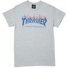 Thrasher Patriot Flame Short Sleeve T-Shirt - Ash Grey