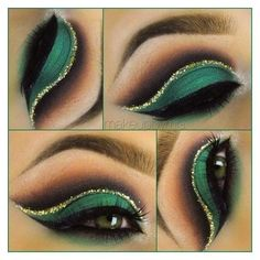Gorgeous Makeup: Tips and Tricks With Eye Makeup and Eyeshadow – Makeup Design Ideas Gold Makeup, Makeup For Green Eyes, Glitter Makeup, Gold Glitter, Green Eyeshadow, Glitter Eyeshadow, Eyeshadow Palette, Glitter Toms, Glitter Wine