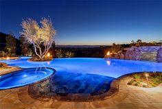 Wildflower Estate - mediterranean - Pool - San Diego - Liggatt Development, Inc Swimming Pool House, Swimming Pools, San Diego, Home Lighting Design, House Lighting, Beautiful Pools, Dream Pools, Cool Pools, Pool Houses