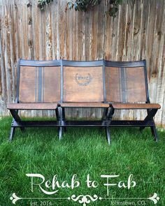 Repurposed Theater Chairs in Black Pepper Painting Antique Furniture, Painted Furniture, Furniture Redo, Denver, Cycle Painting, Cinema Chairs, Stadium Chairs, Building Furniture, Theater Seating