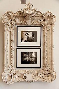 Ordinary frames inside a larger antique frame
