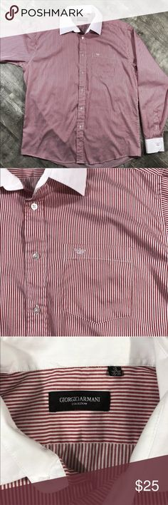 "Giorgio Armani Mens Button Down Shirt Giorgio Armani le Collezioni button down shirt Great condition  Mens 18 35-36 Long sleeve  Red and white stripes Cotton blend Chest pocket w/ emblem  Measurements laying flat: Chest 24"" Length 31"" Sleeve 26"" Giorgio Armani Shirts Dress Shirts"