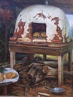 Forno a lenha-assando pão Óleo sobre tela de...Clodoaldo Martins